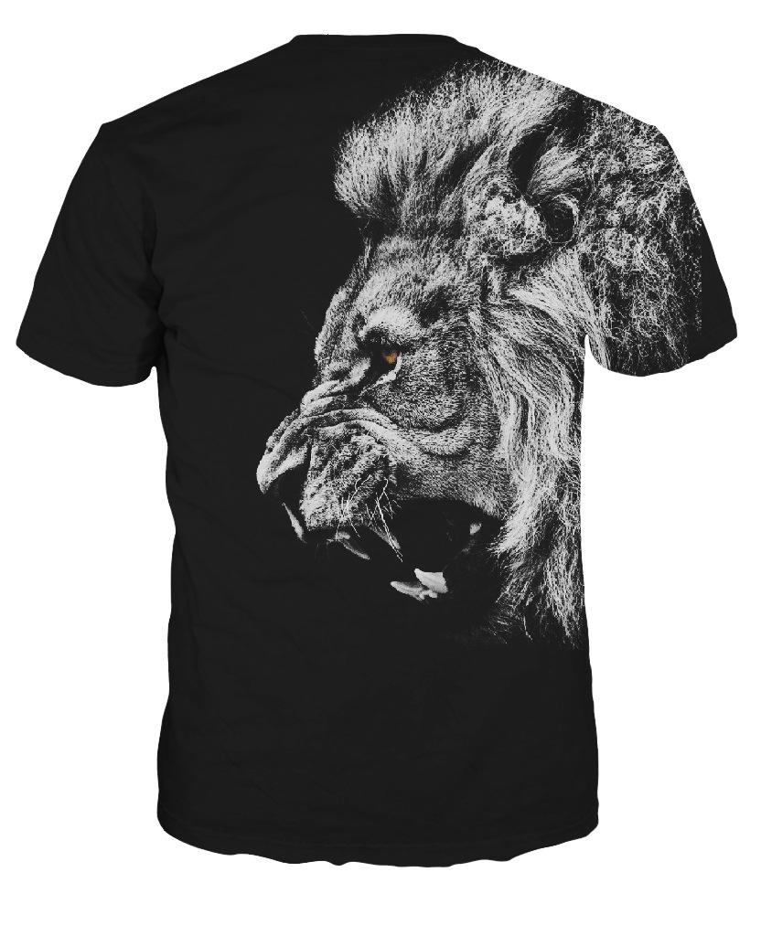 Black Lion King Head 3d Printed Summer T Shirt Short Sleeve Shirt