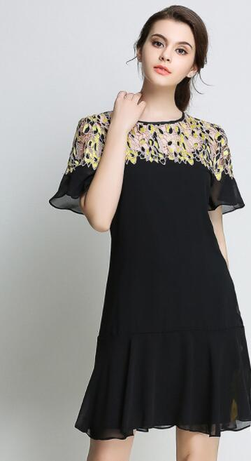 Black Embroidered Plus Size Knee Length Dress on Storenvy