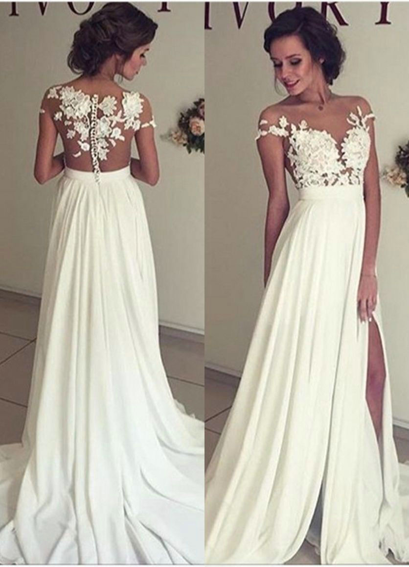 Sexy Slit Wedding Dress,Lace Bridal Dress,Sexy Open Back Wedding