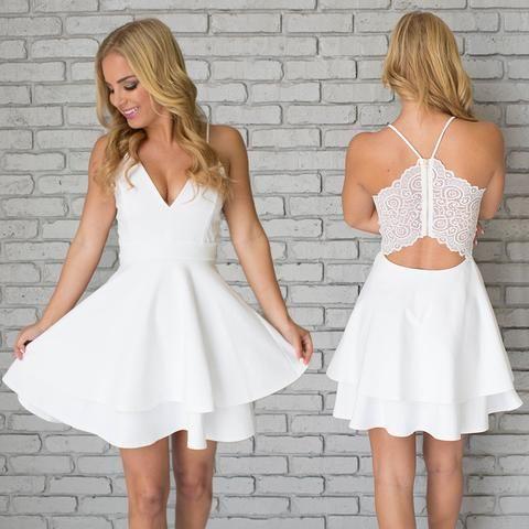 1fb4d489736 White Homecoming Dresses,Spaghetti Straps Homecoming Dresses,Short ...