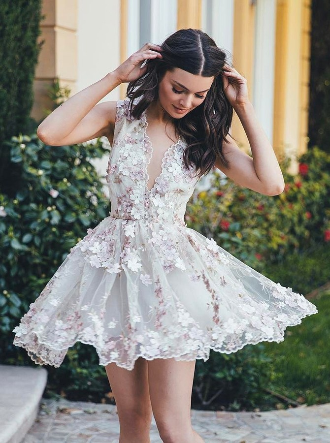 938a67a9d2 Stylish A-Line V-Neck Sleeveless Short White Homecoming Dress with  Appliques on Storenvy