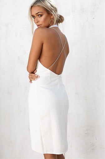 a15bd8bc279 ... Hot Sexy Asymmetrical Deep V-Neck White Short Homecoming Dress with  Backless - Thumbnail 4