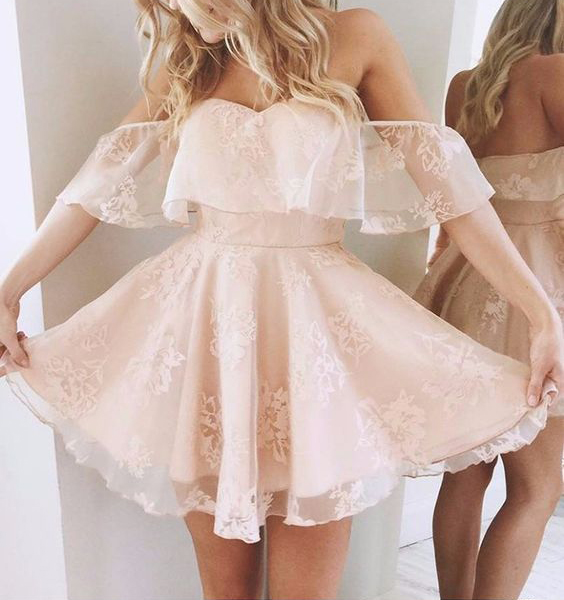 5a8604cb900 Sexy Skin Pink Lace Short Prom Dresses Mini Length Off the Shoulder Homecoming  Dresses Party Gowns