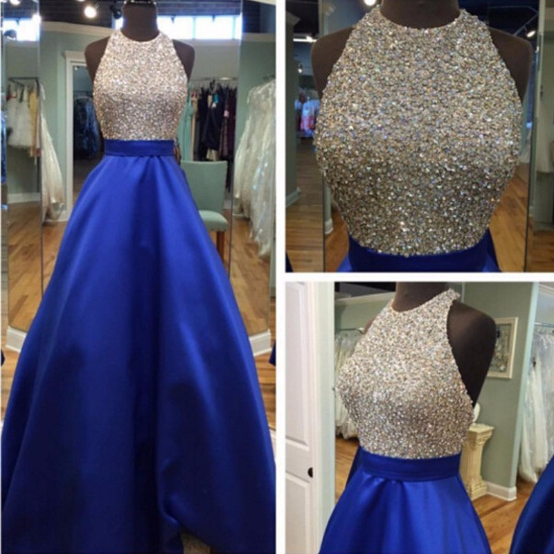Bling Beading Crystal Sequins Prom Dresses Sexy Backless Royal Blue