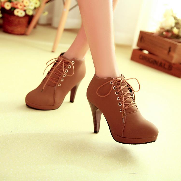 8420fbe84c2 Brown Lace up High Heels Ankle Boots · Eoooh❣❣ · Online Store ...