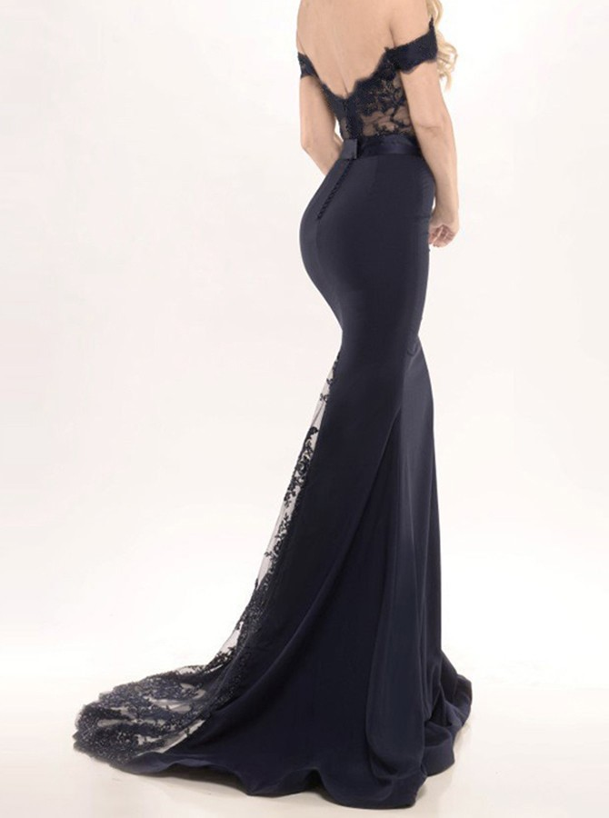 Charming Prom Dress,Off Shoulder Lace Mermaid Evening Dress,Formal ...