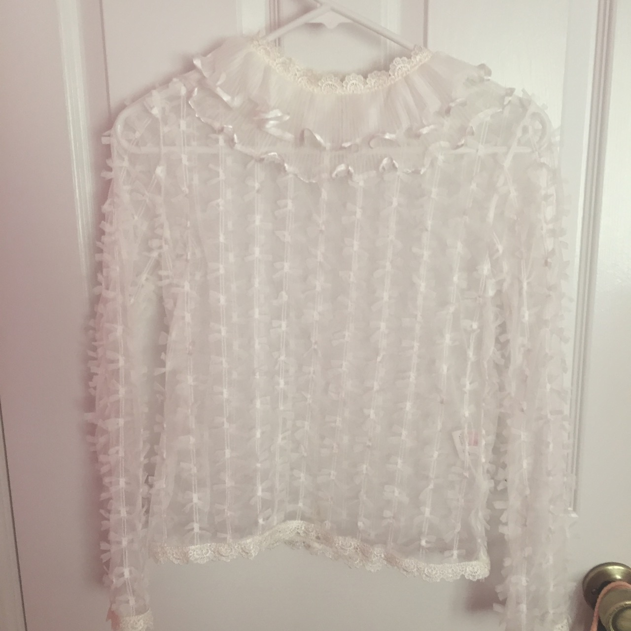 a169da752c36a Swankiss Sheer Bow   Frill Top on Storenvy
