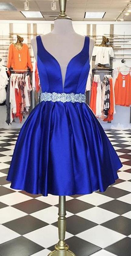 Blue Short Graduation Dresses