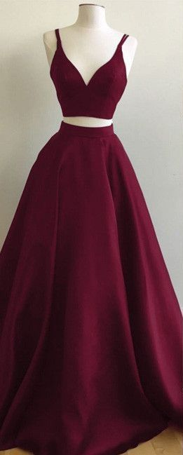 d899720db3f Burgundy Two-Piece Prom Dresses Straps Sleeveless Puffy A-line ...