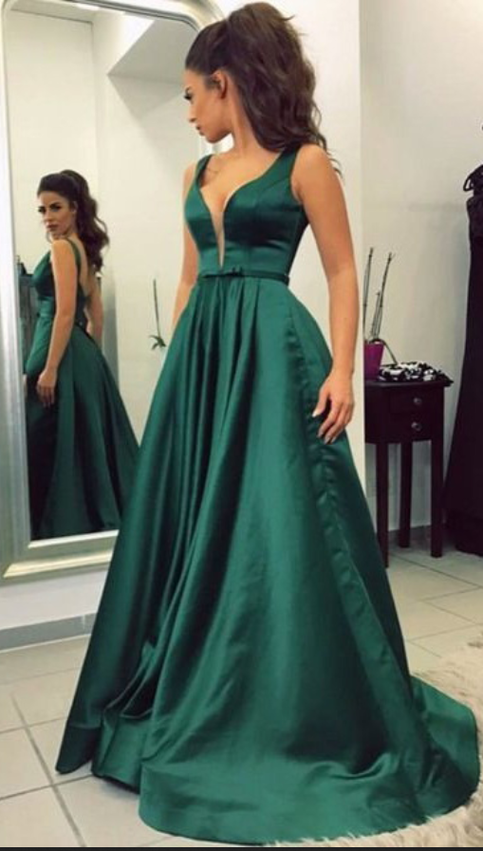 Green Satin Prom Dresses Long Prom Dresses Simple Prom
