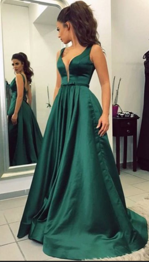 Green Satin Prom Dresses,Long Prom Dresses,Simple Prom Dresses,Cheap ...