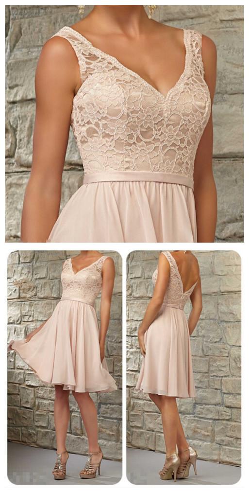 dc74bc19940 Short lace bridesmaid dresses, Halter bridesmaid dresses, chiffon bridesmaid  dresses,See through bridesmaid