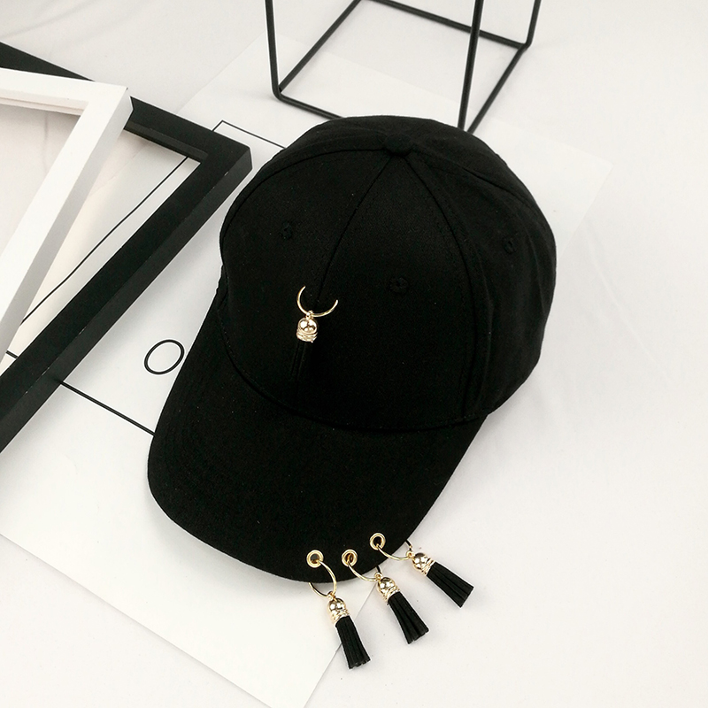 35577fb49a4 Korean baseball cap and tassel ring spring summer hat black hip-hop ...