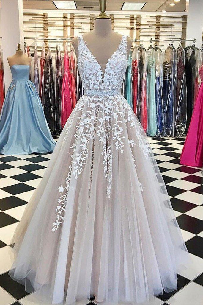 131f2dc57 Light champagne V neck A line long lace appliqués bridal dress, formal prom  dress with