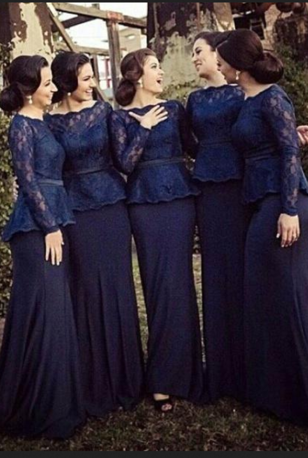 New Hot Spring Summer Bateau Long Sleeves Mermaid Floor Length Blue  Bridesmaid Dress Plus size Support customized from olesa wedding shop