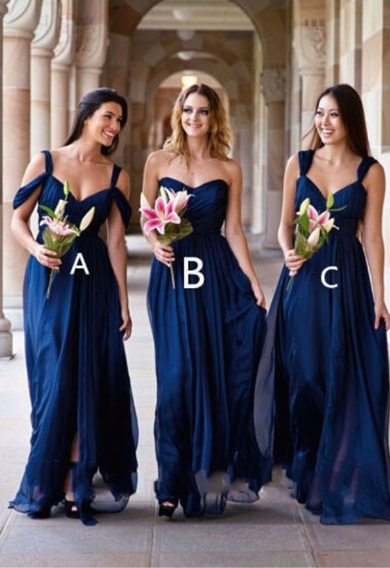 487a28ceca Sexy Sleeveless Navy Blue Bridesmaid Dresses Sweetheart Chiffon with  Spaghetti Straps Long Party Dress Custom Made
