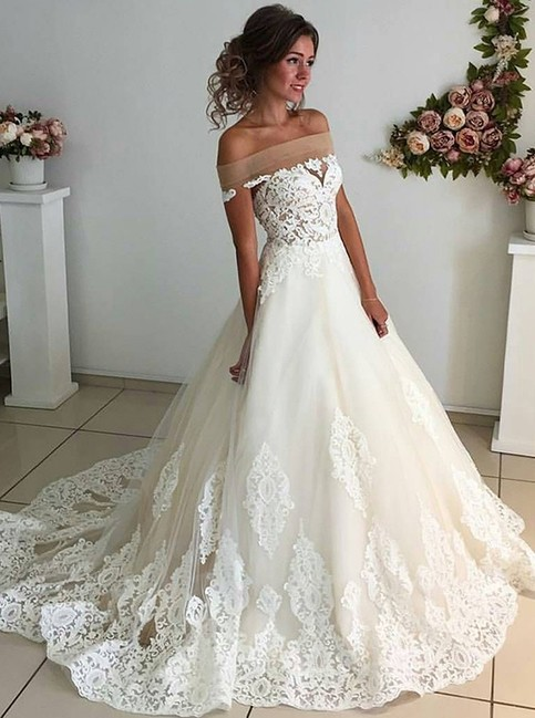 A Line Off The Shoulder Court Train Sleeveless Ivory Tulle