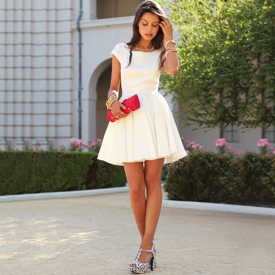 White Prom Dresses, Open Back Short Prom Dresses, Scoop Neck Chiffon ...