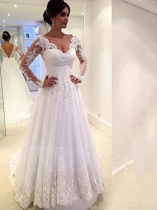 V-Neck Backless Long Sleeve Court Lace Wedding DressChapel Train ...