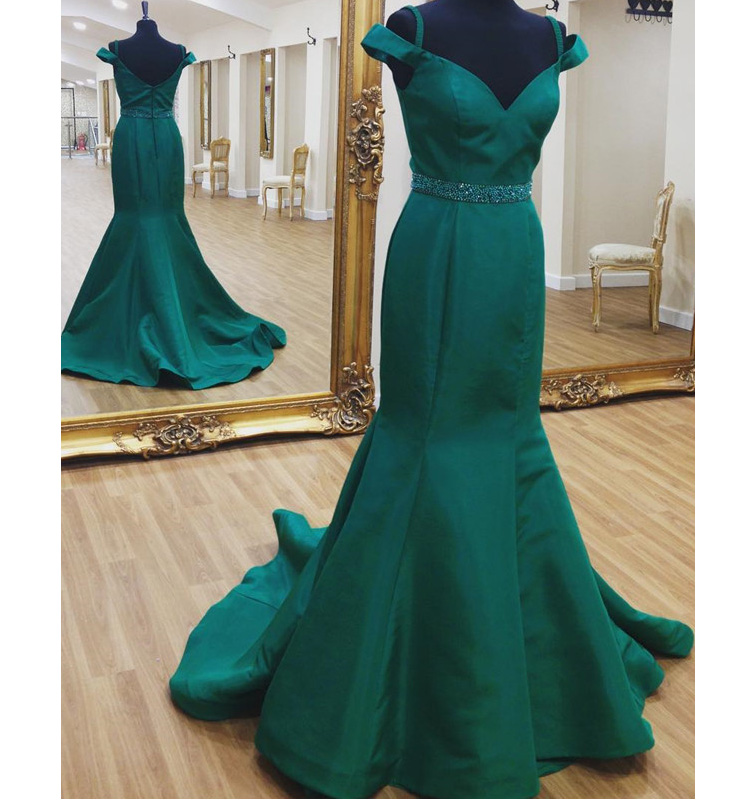 c0e20801f4dd 2017 Fitted Beaded Dark Green Off The Shoulder Prom Dress