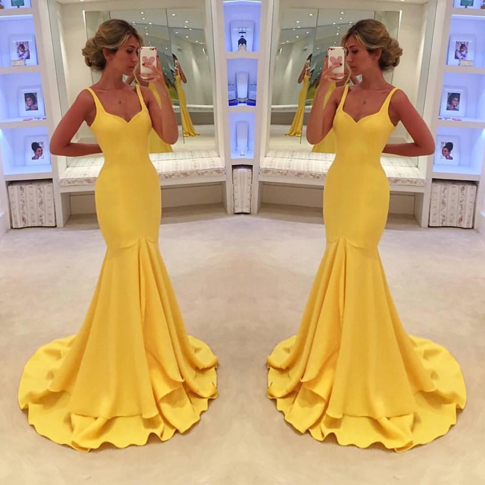 Yellow Simple Spaghetti-Straps Mermaid Prom Dress evening dress on ...