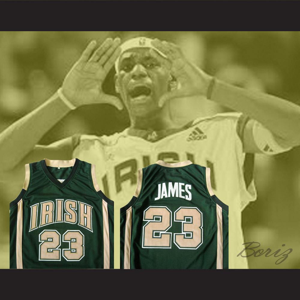 69e45908dd63 Lebron James High School Basketball Jersey Irish 23 Stitch All Sizes ...