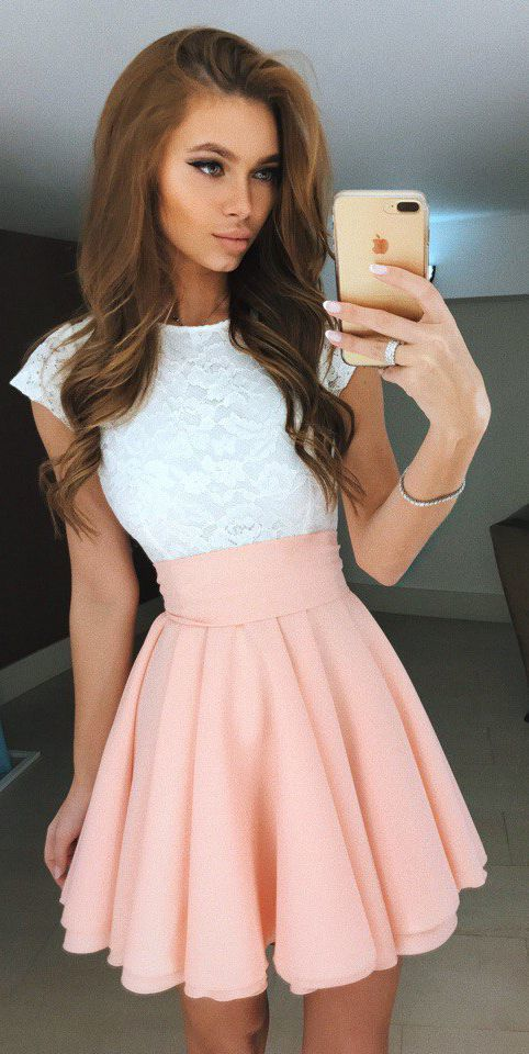 White Lace Homecoming Dresses Pink Satin Homecoming