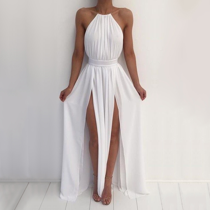 Long Prom Dresses Summer Halter Chiffon A Line Party Dresses Cheap