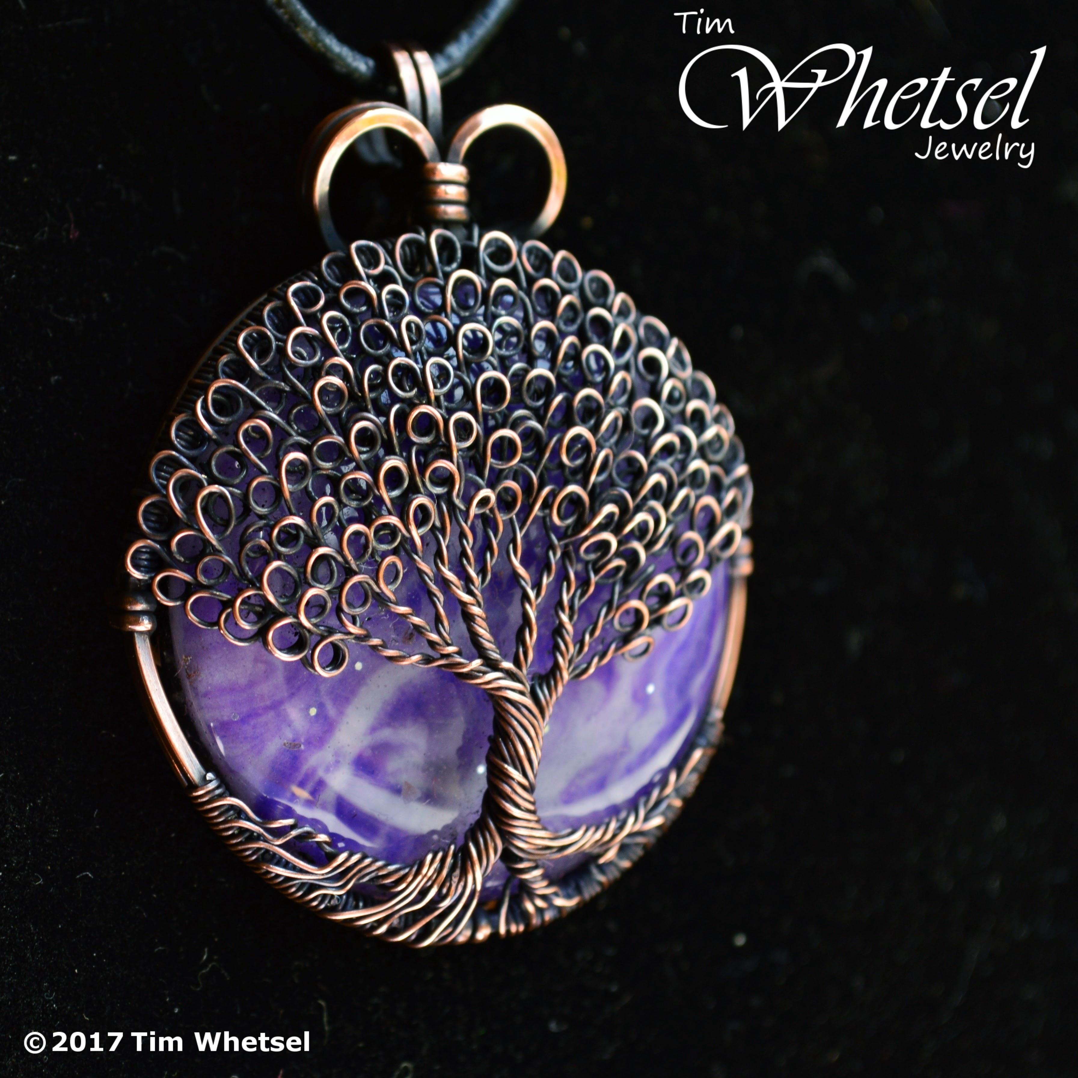 Purple Orgone Copper Tree Of Life Pendant Loop Leaves