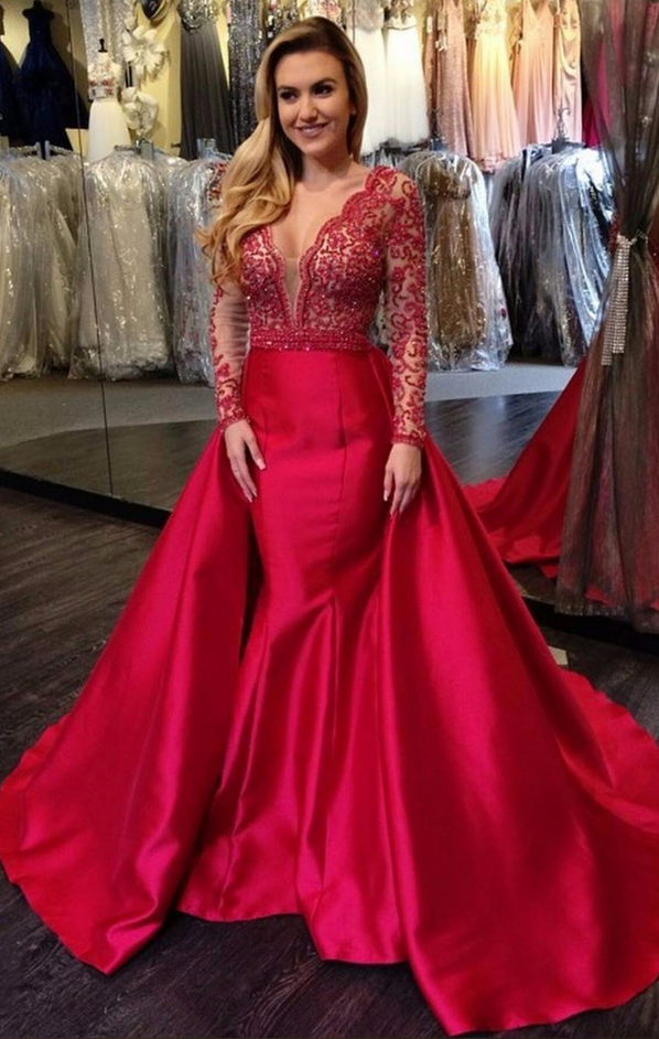 Cheap prom dresses Deep V Neck Red Evening Dresses Long Sleeve ...