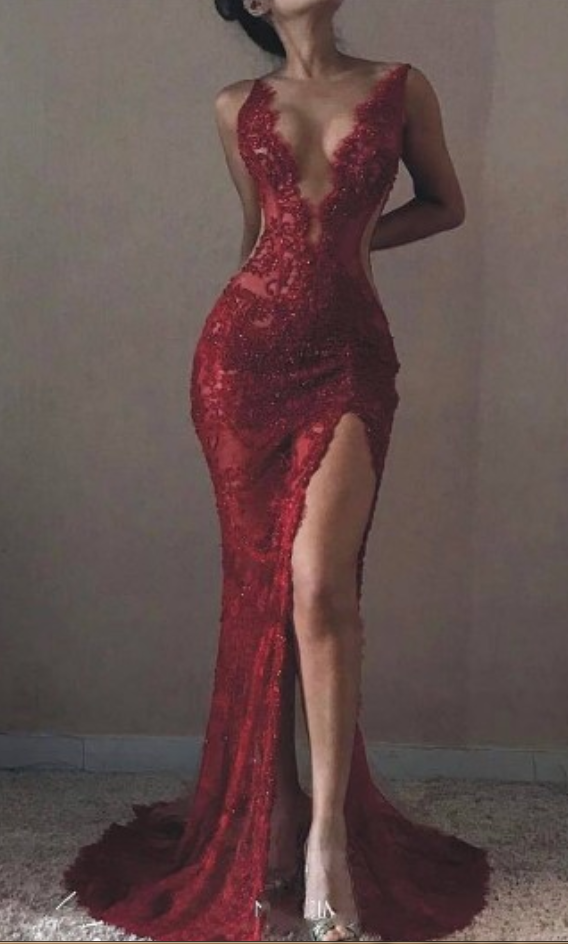 d1bf8b454a Cheap prom dresses Mermaid Wine Red Lace Evening Dress,Sexy Slit Lace Prom  Dress,