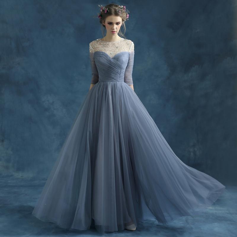 9c2566b29219f Designer Long Prom Dresses, Scoop Neck Tulle Beading 3/4 Sleeve Evening  Formal Dress, #020102046