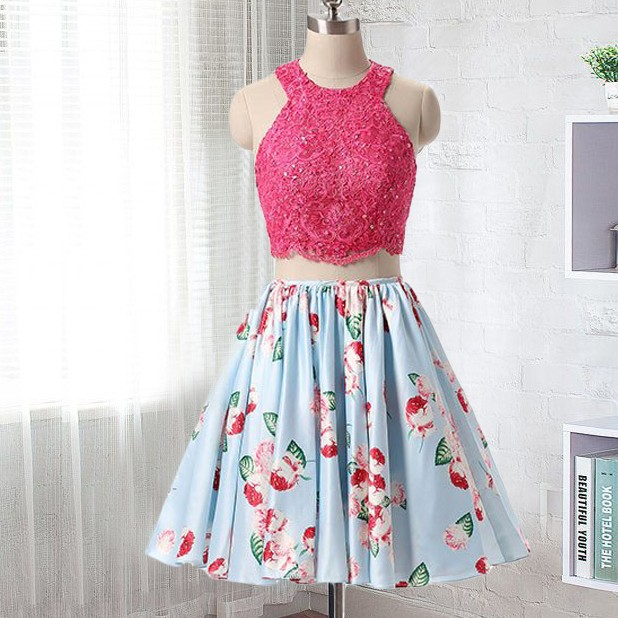 80b09510b5 Two Piece Short Floral Homecoming Dress · dreamdressy · Online Store ...