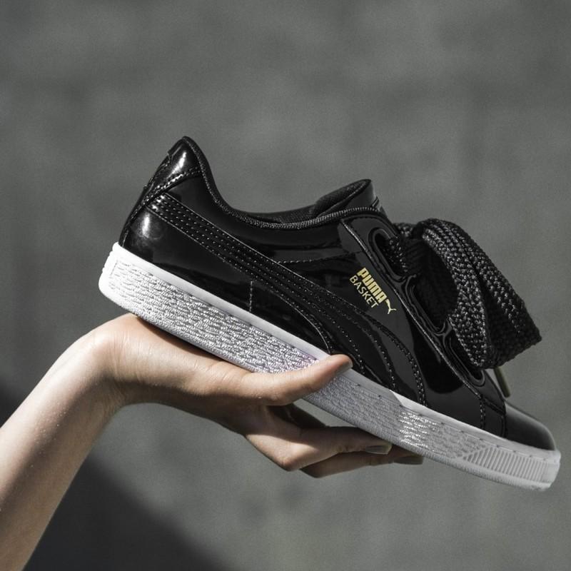 81f211fd2cc Puma Suede Basket Heart Patient Leather Black Shoes on Storenvy