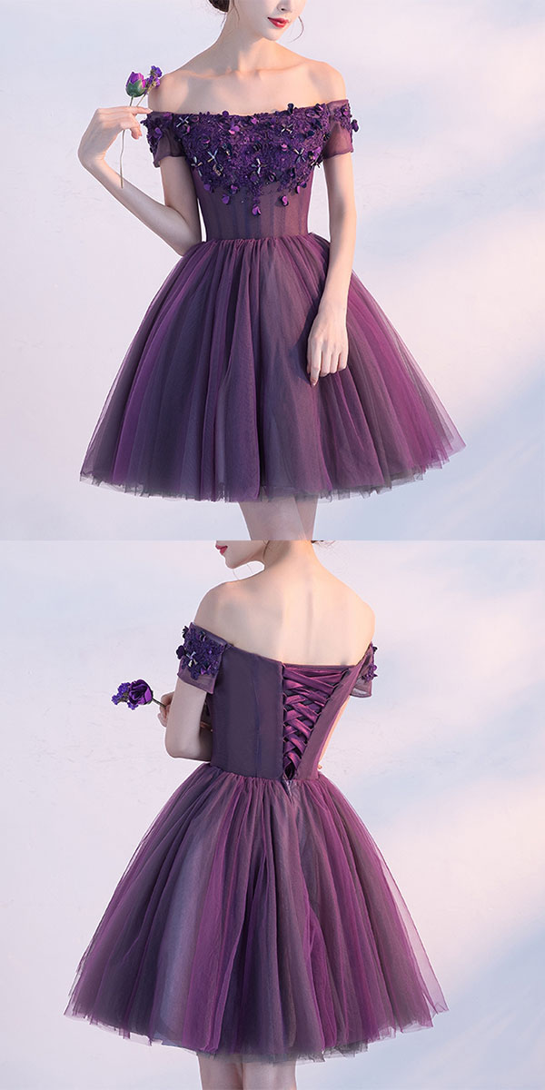 548657a9471c Cute A line purple off shoulder short prom dress