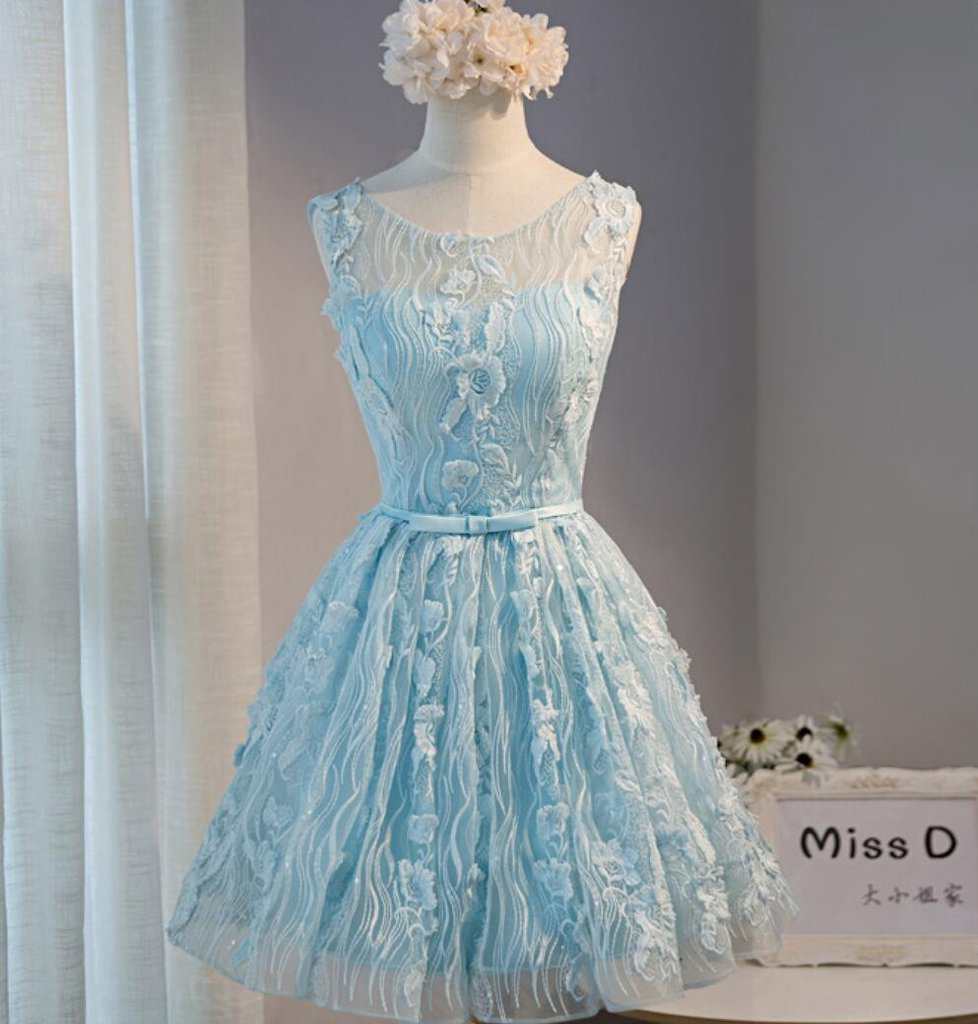 Tiffany Blue Open back Lace Cute Homecoming Prom Dresses, Affordable ...