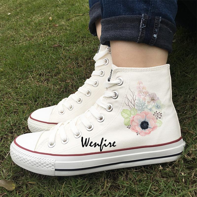 d45db28058c3f Wenfire Bird Floral Flowers Original Design Casual Shoes Unisex White Women  Men Shoes High Top Canvas Sneakers