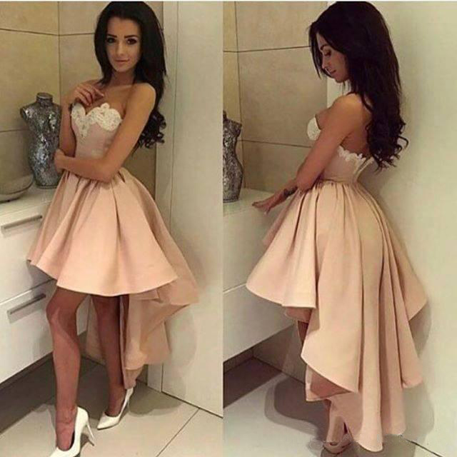 a475467c7cd3 A Line Short White Lace Homecoming Dress,Pink High-low Prom Dresses,Sexy  Sweetheart Party Dress on Storenvy