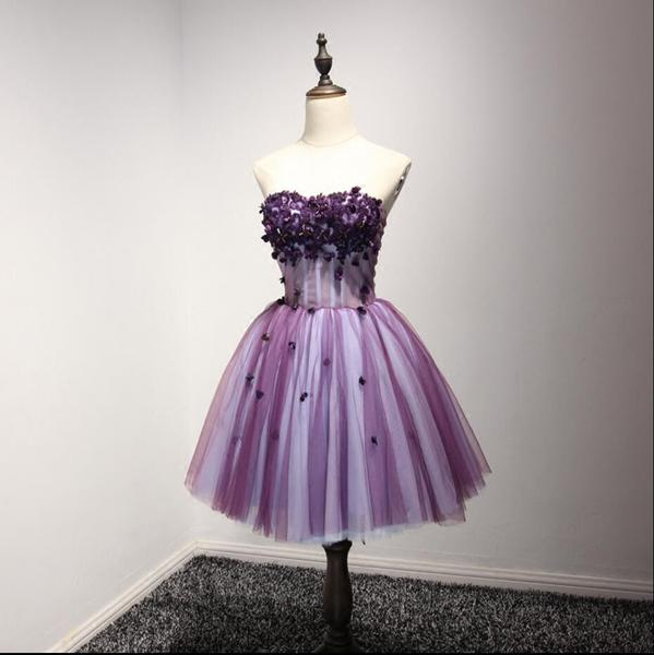 Purple Strapless Lace Homecoming Prom Dresses, Affordable Short ...