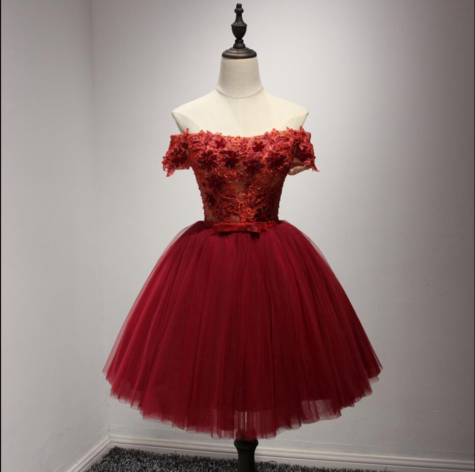 Off Shoulder Short Sleeve Red Lace Homecoming Prom Dresses ...