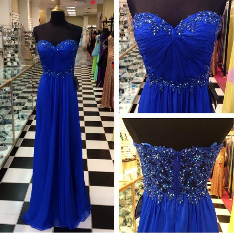 Long Lace Crystal Royal Blue Prom Dress,Silver Formal Gown,Beadings ...