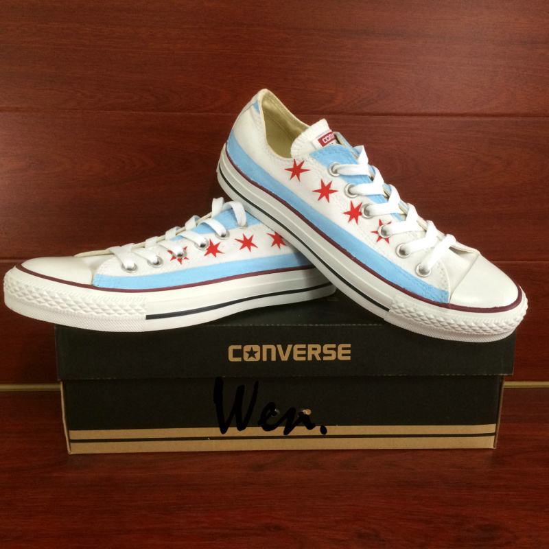 6b92b4568f8d USA Chicago Flag Original Design Custom Hand Painted Shoes Galaxy ...