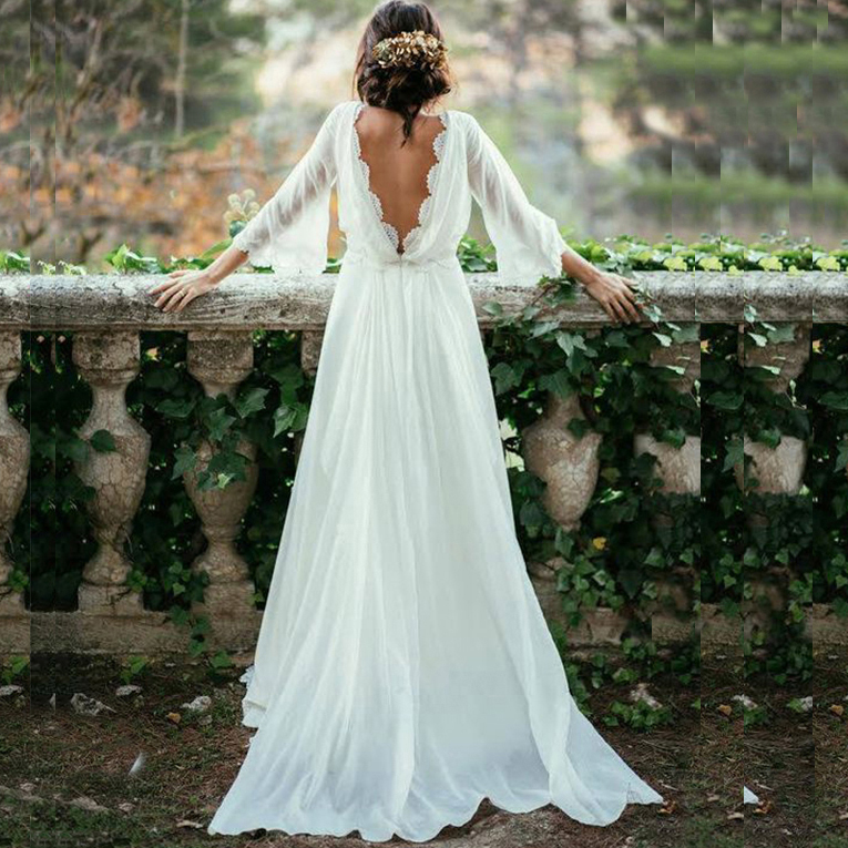 Backless Wedding Gowns: Sexy Ivory Lace Wedding Dresses,Long Sleeve Backless