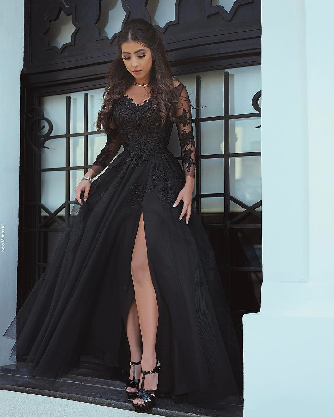 d5a7aff8811e Sexy Black Prom Dresses Long Sleeves Side Slit Puffy Evening Gowns ...