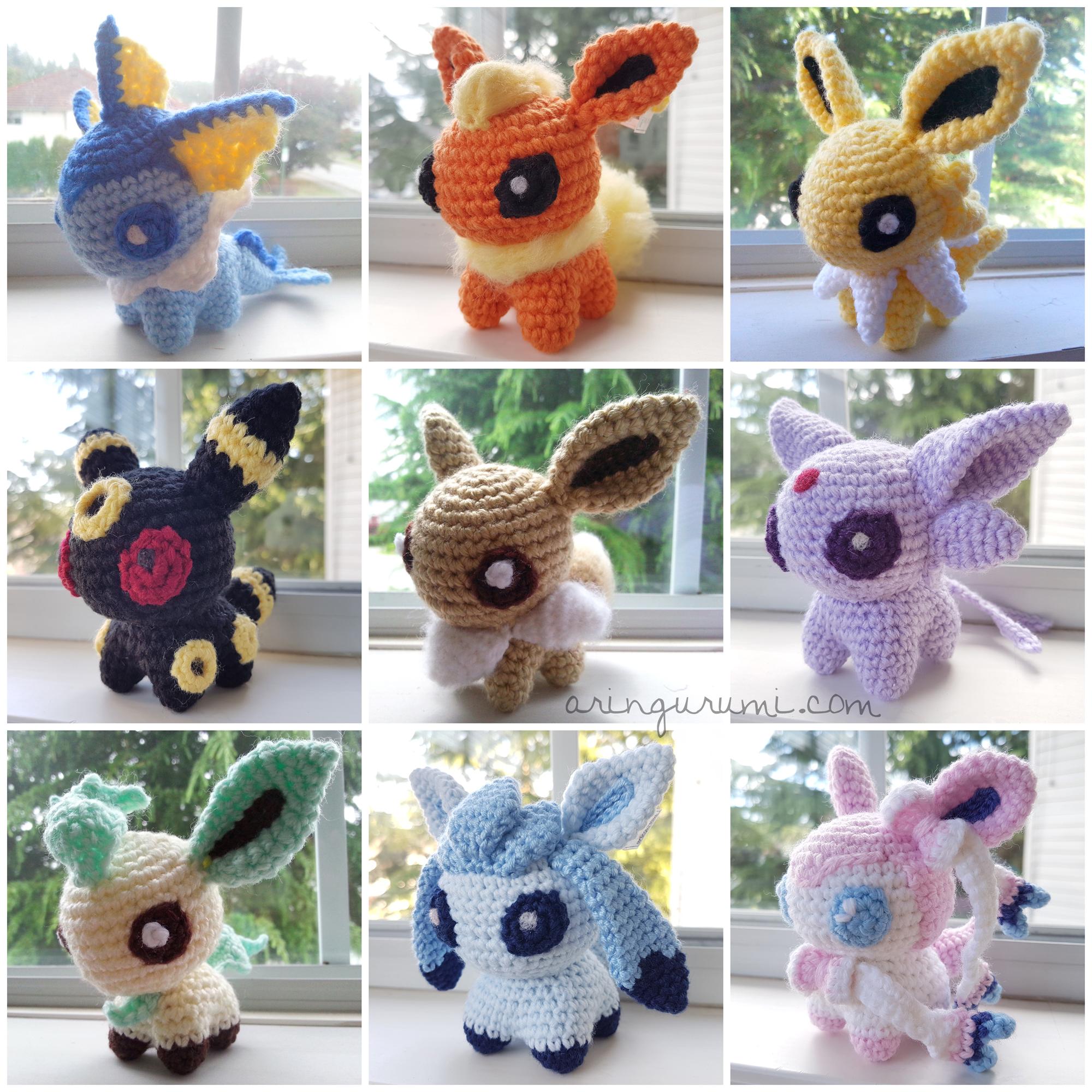 2ae588e3 complete set of 9 eeveelution amigurumi - crochet plush eevee flareon ...