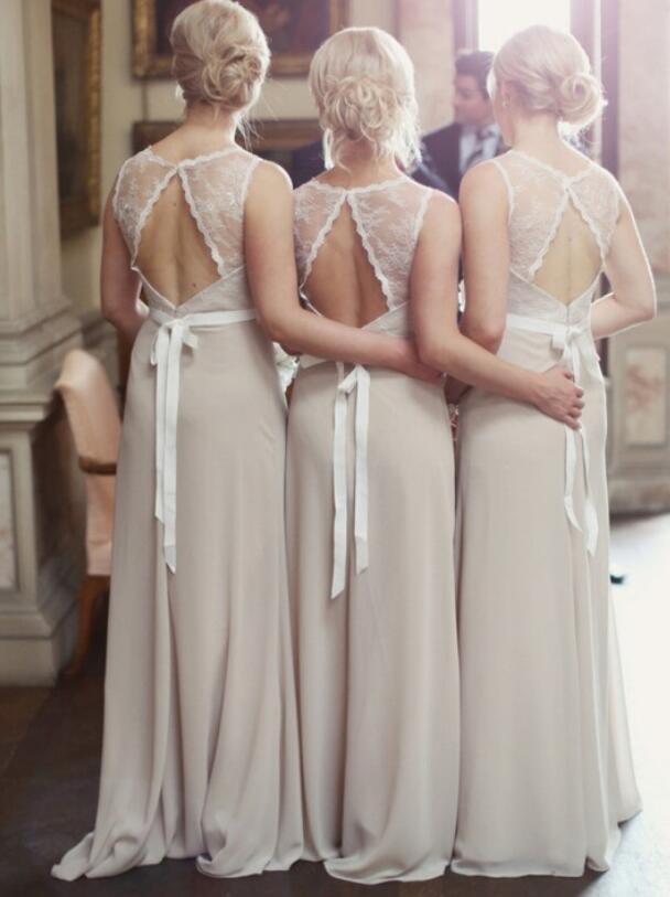 Silver Lace Bridesmaid Dresses