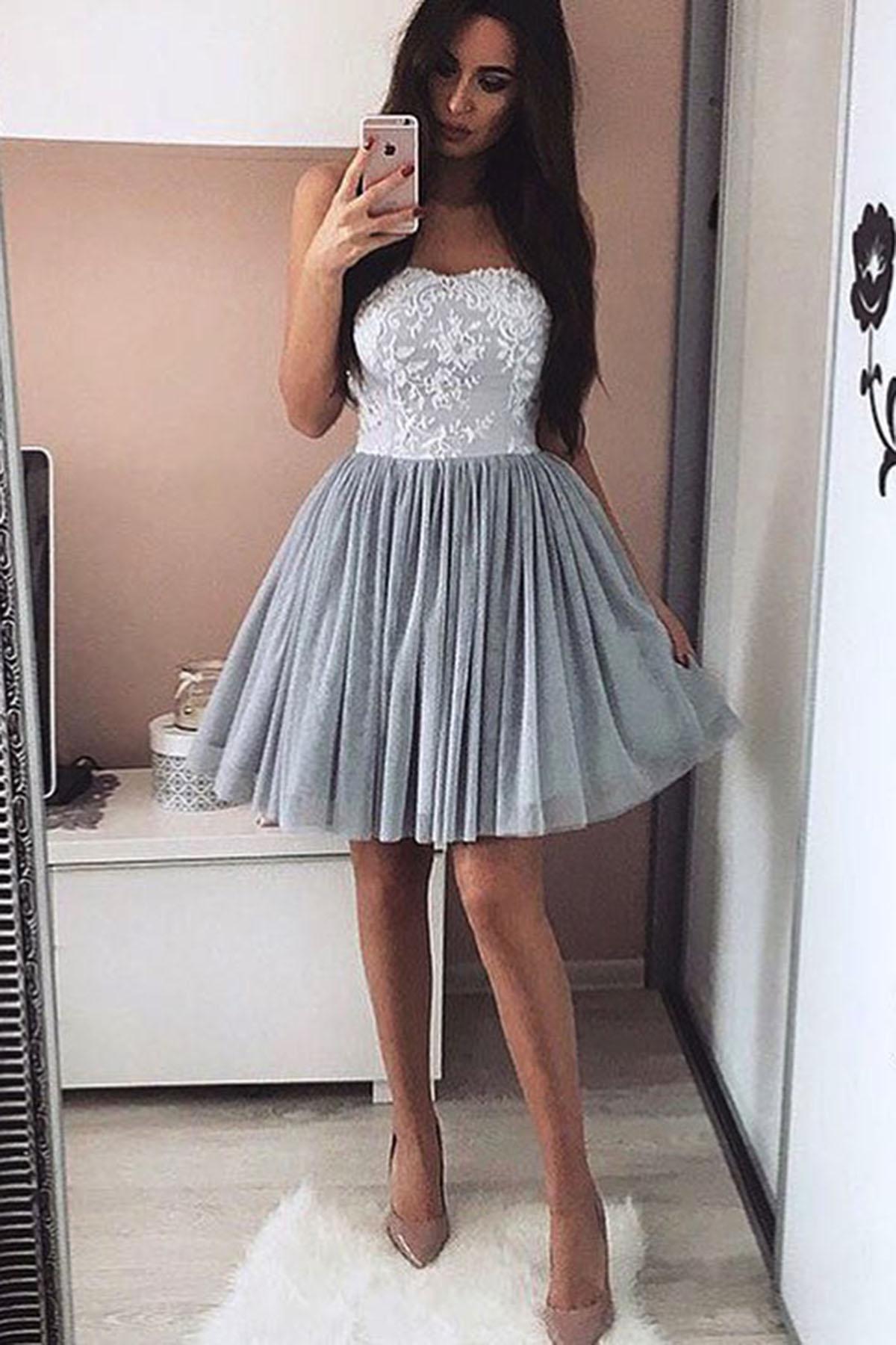 b3e52304d5f Grey sweetheart short prom dress