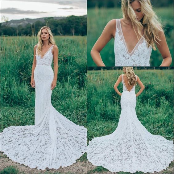 Sexy Open Back Mermaid Wedding Dresses
