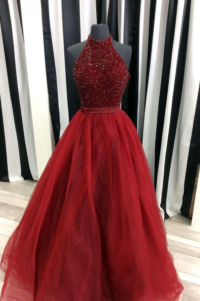 Crimson Burgundy Tulle A Line Sequins Halter Long Prom Dresses