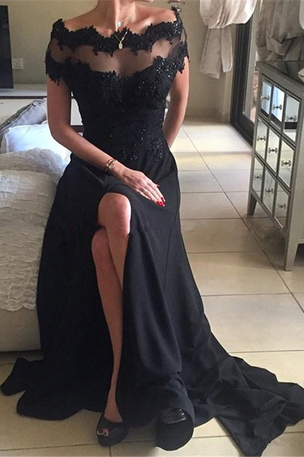 High 20quality 20a line 20bateau 20short 20sleeves 20split 20black 20prom  20dress 20with 20beaded 20lace1 small 555bd1b9b